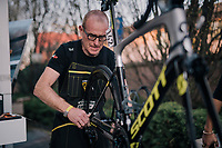Team Mitchelton-Scott mechanics at work ahead of the110th Milano-Sanremo 2019 (ITA)<br /> One day race from Milano to Sanremo (291km)<br /> <br /> ©kramon