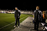 "March 14, 2009. Cary, NC.. The Carolina Railhawks went home in foul weather with a  1-0 victory over the New England Revolution of the MLS, in the inaugural ""Community Shield"" match and their first professional outing under new coach, Martin Rennie. . Head coach Martin Rennie, left."