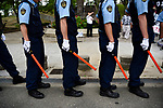JUNE 28, 2019 - Police stand guard during a protest near the site of the G20 Summit in Osaka, Japan. (Photo by Ben Weller/AFLO) (JAPAN) [UHU]