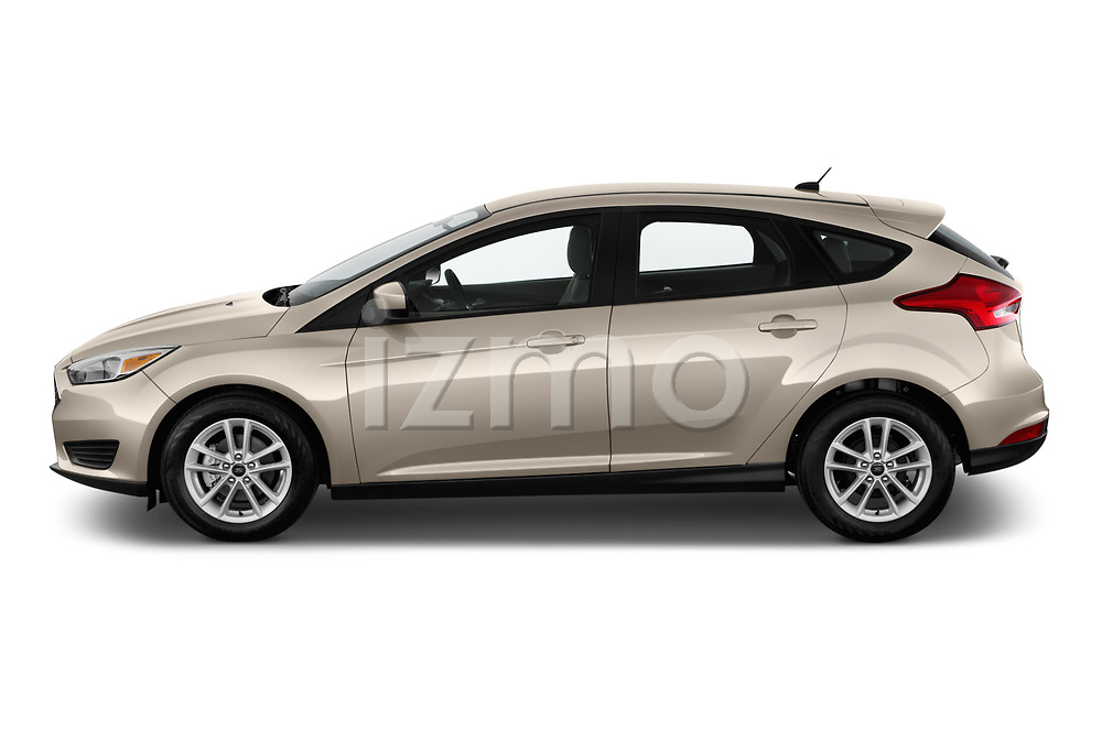 Car Driver side profile view of a 2018 Ford Focus SE 5 Door Hatchback Side View