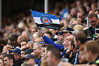 A Bath Rugby fan in the crowd waves a flag in support. Gallagher Premiership match, between Bath Rugby and Gloucester Rugby on September 8, 2018 at the Recreation Ground in Bath, England. Photo by: Patrick Khachfe / Onside Images