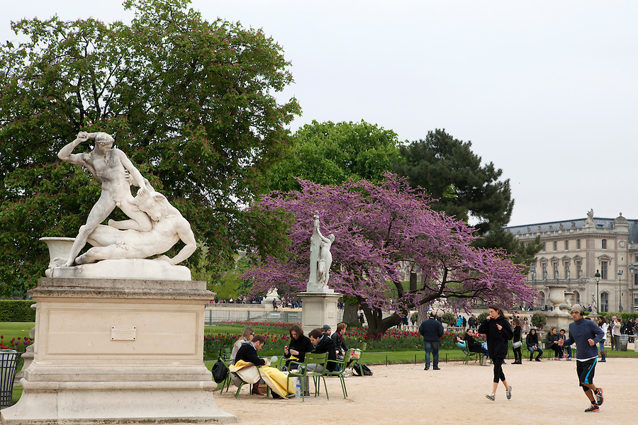 Statue of Theseus and the Minotaur (by Etienne-Jules Ramey) in the Tuileries Gardens (Jardin des Tuileries) in spring, Paris, France, Europe