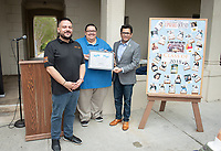 "Horacio Aceves, Academic Coordinator, Jesus Maldonado '00, Director, and Congressman Jimmy Gomez (CA-34).<br /> Upward Bound hosts their annual ""End of the Year"" celebration with participants and their families on May 12, 2018 in the courtyard of Booth Hall. Jimmy Gomez, U.S. Representative for California's 34th congressional district, was the featured speaker at the event.<br /> Upward Bound was established at Occidental College in 1966 and has since served over 2000 first generation, low income students in the Los Angeles region.<br /> (Photo by Marc Campos, Occidental College Photographer)"