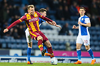 Charlie Wyke of Bradford City during the Sky Bet League 1 match between Blackburn Rovers and Bradford City at Ewood Park, Blackburn, England on 29 March 2018. Photo by Thomas Gadd.