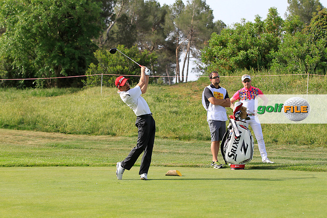 Playing with Simon Dyson (ENG) on the 9th tee during the Pro-Am of the Open de Espana  in Club de Golf el Prat, Barcelona on Wednesday 13th May 2015.<br /> Picture:  Thos Caffrey / www.golffile.ie