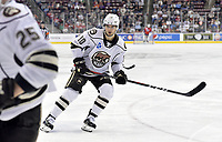 HERSHEY, PA - DECEMBER 01: Hershey Bears left wing Shane Gersich (10) skates back in the defensive zone during the Springfield Thunderbirds at Hershey Bears on December 1, 2018 at the Giant Center in Hershey, PA. (Photo by Randy Litzinger/Icon Sportswire)
