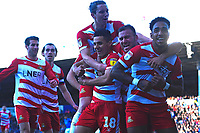 Mallik Wilks of Doncaster Rovers right celebrates after scoring the first goalr  during Portsmouth vs Doncaster Rovers, Sky Bet EFL League 1 Football at Fratton Park on 2nd February 2019