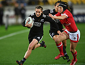 9th June 2017, Westpac Stadium, Wellington, New Zealand; International Womens Rugby; New Zealand versus Canada;  New Zealands Selica Winiata  (L) runs in a try with Canada's DaLeaka Menin