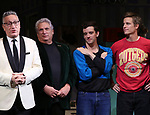 "Moises Kaufman, Harvey Fierstein, Michael Urie and Ward Horton during the Broadway Opening Night Curtain Call for ""Torch Song"" at the Hayes Theater on November 1, 2018 in New York City."