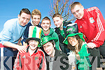 Rici Hanley, John Loughnane and Keira Finucane, with back l-r Kevin Thornton, Ben Landy, Eric O' Connor, Padraig Enright and Eoin Foran at the Listowel St Patrick's Day Parade on Tuesday.