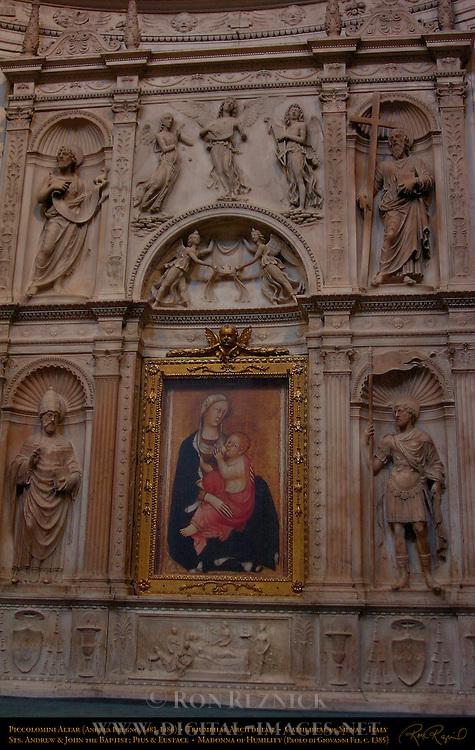 Piccolomini Altar Central Arch Detail, Madonna of Humility, Madonna dell'Umilta, Paolo di Giovanni Fei c. 1385, St. Andrew St. John the Baptist St. Pius St. Eustace, Andrea Bregno c. 1486, Cathedral of Siena, Santa Maria Assunta, Siena, Italy