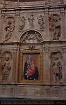 Piccolomini Altar Central Arch Detail, Madonna of Humility, Madonna dell'Umilta, Paolo di Giovanni Fei c. 1385, St. Andrew St. John the Baptist St. Pius St. Eustace, Andrea Bregno c. 1486, Cathedral of Siena, Santa Maria Assunta, Siena, Italy