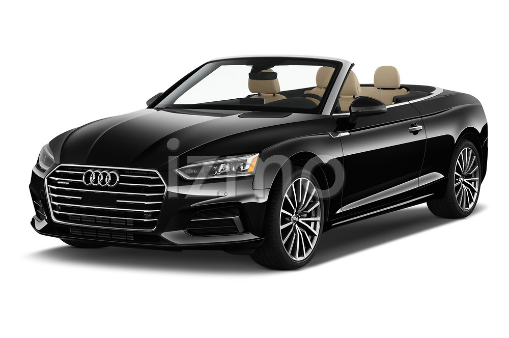2018 Audi A5 Cabriolet Premium Plus 2 Door Convertible angular front stock photos of front three quarter view