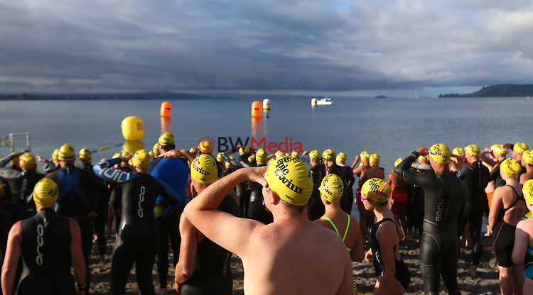 Competitors during the multi distance races of the Swimming New Zealand Open Water Championships, Lake Taupo, Taupo. Saturday 9 January 2015. Photo: Simon Watts/www.bwmedia.co.nz