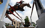 GUADALAJARA, MEXICO - OCTOBER 27:  Noel Vaososte of Venezula competes during the Equestrian Show Jumping Competition on Day Thirteen of the XVI Pan American Games on October 27, 2011 in Guadalajara, Mexico.  (Photo by Donald Miralle for Mexsport) *** Local Caption ***
