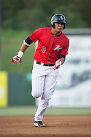 Antonio Rodriguez (6) of the Kannapolis Intimidators hustles towards third base against the Asheville Tourists at Kannapolis Intimidators Stadium on May 26, 2016 in Kannapolis, North Carolina.  The Tourists defeated the Intimidators 9-6 in 11 innings.  (Brian Westerholt/Four Seam Images)