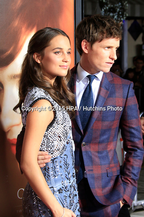 """LOS ANGELES - NOV 21:  Alicia Vikander, Eddie Redmayne at the """"The Danish Girl"""" Premiere at the Village Theater on November 21, 2015 in Westwood, CA"""