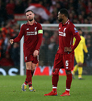Liverpool's Jordan Henderson and Georginio Wijnaldum look dejected as the game draws to a close<br /> <br /> Photographer Rich Linley/CameraSport<br /> <br /> UEFA Champions League Round of 16 First Leg - Liverpool and Bayern Munich - Tuesday 19th February 2019 - Anfield - Liverpool<br />  <br /> World Copyright © 2018 CameraSport. All rights reserved. 43 Linden Ave. Countesthorpe. Leicester. England. LE8 5PG - Tel: +44 (0) 116 277 4147 - admin@camerasport.com - www.camerasport.com