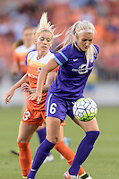 Kaylan Kyle (6) of the Orlando Pride keeps Denise O'Sullivan (13) of the Houston Dash away from the ball on Friday, May 20, 2016 at BBVA Compass Stadium in Houston Texas. The Orlando Pride defeated the Houston Dash 1-0.
