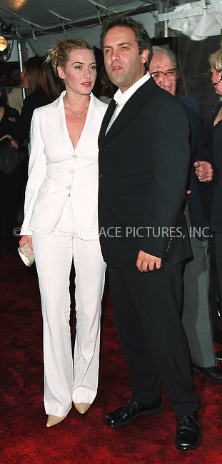 "Kate Winslet and Director Sam Mendes attending a special screening of ""Road to Perditon"" to benefit the Association of the HITWG Camps and the International Rescue Committee. New York, July 9, 2002.  Please byline: Alecsey Boldeskul/NY Photo Press.   ..*PAY-PER-USE*      ....NY Photo Press:  ..phone (646) 267-6913;   ..e-mail: info@nyphotopress.com"