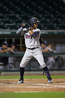 Thairo Estrada (3) of the Scranton/Wilkes-Barre RailRiders at bat against the Charlotte Knights at BB&T BallPark on August 13, 2019 in Charlotte, North Carolina. The Knights defeated the RailRiders 15-1. (Brian Westerholt/Four Seam Images)