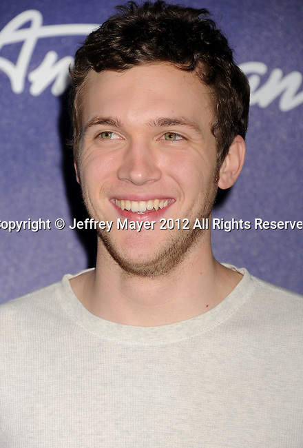 LOS ANGELES, CA - MARCH 01: Phillip Phillips arrives at the American Idol Finalists party at The Grove Parking Structure Rooftop on March 1, 2012 in Los Angeles, California.