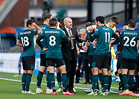 29th June 2020; Selhurst Park, London, England; English Premier League Football, Crystal Palace versus Burnley Football Club; Burnley Manager Sean Dyche giving his players a quick team talk during the 1st half drinks break