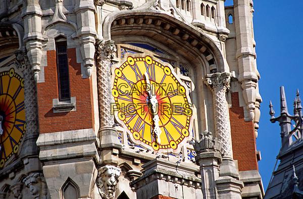Colourful clock face, Town Hall, Calais, France