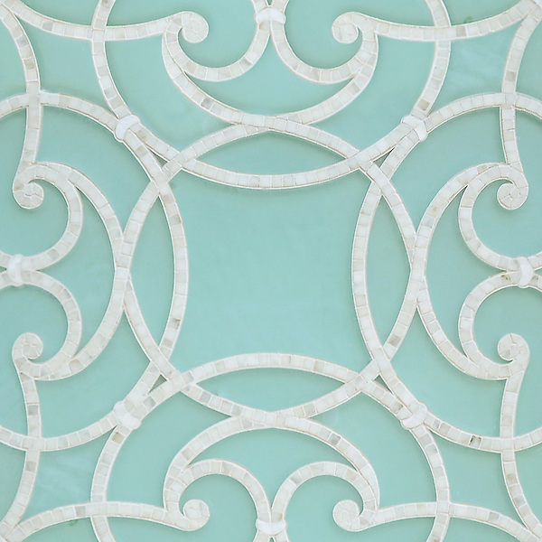 Abigail, a handmade mosaic shown in honed Aquaberyl glass and polished Calacatta. Designed by Sara Baldwin Designs for New Ravenna.