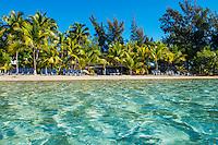 Honduras, Roatan Island, Fantasy Island Resort, Caribbean. View of ocean and hotel beach.