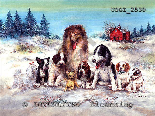 GIORDANO, CHRISTMAS ANIMALS, WEIHNACHTEN TIERE, NAVIDAD ANIMALES, paintings+++++,USGI2530,#XA# dogs,puppies