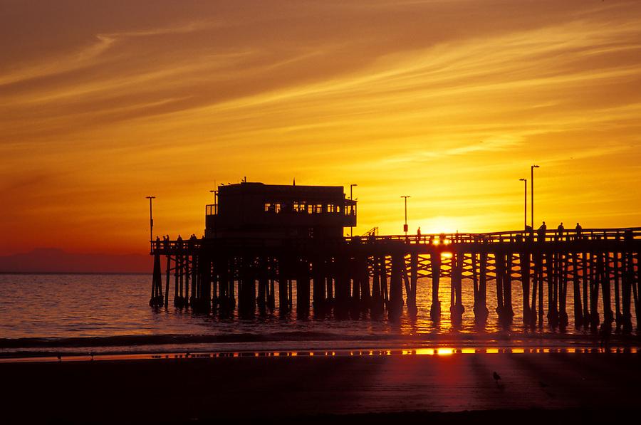 Newport Pier at sunset, Newport Beach, California