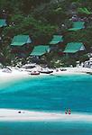 Thailand, Ko Nang Yuan resort, Swimmers, Bungalows, beach, Ko Nang Yuan, Ko Tao, Gulf of Thailand, Thailand Southeast Asia,.