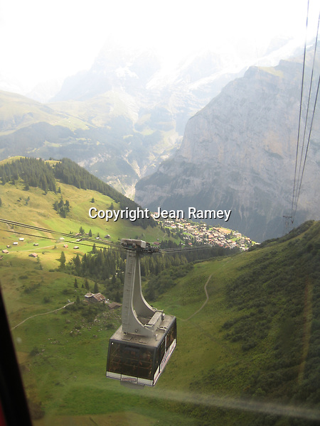 View from a cable car, Swiss Alps