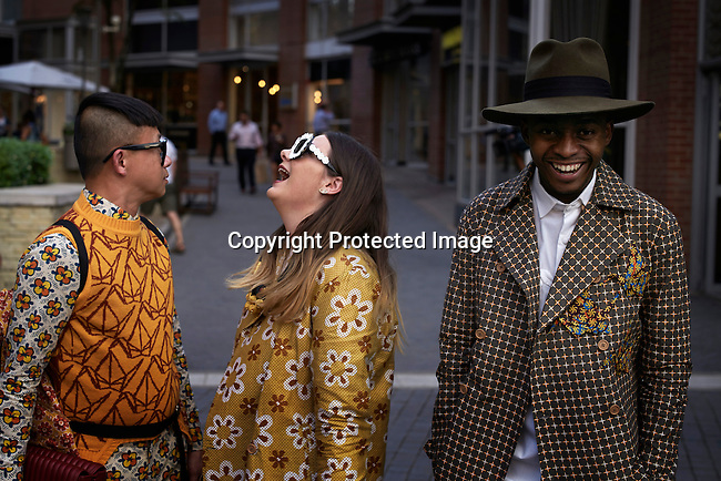 JOHANNESBURG, SOUTH AFRICA – MARCH 5: Street fashion before a show at Johannesburg Fashion Week held at Melrose Arch, South Africa on March 5, 2015. (Photo by: Per-Anders Pettersson)