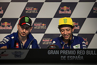 Jorge Lorenzo and Valentino Rossi during qualifying press conference in Motorcycle Championship GP, in Jerez, Spain. April 23, 2016
