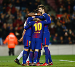 Luis Suarez, Messi, Paulinho and Pique, FC Barcelona v Deportivo de la Coruña en el Camp Now, Barcelona, Jornada 16, 17 Diciembre 2017. Photo Martin Seras Lima