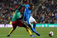 Georges Mandjeck of Cameroon and Maccabi Haifa and Arthur of Brazil and Barcelona during Brazil vs Cameroon, International Friendly Match Football at stadium:mk on 20th November 2018