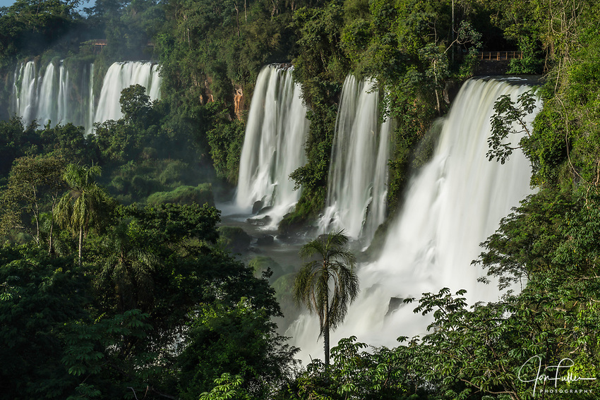 Iguazu Falls National Park in Argentina.  A UNESCO World Heritage Site.  Pictured from left to right are the Bernabe Mendez, Adam and Eve, and Bossetti Falls.
