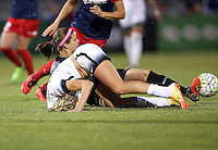 Boyds, MD - Saturday May 07, 2016: Portland Thorns FC midfielder Allie Long (10) tumbles over Washington Spirit goalkeeper Stephanie Labbe (1). The Washington Spirit and the Portland Thorns FC played to a 0-0 tie during a regular season National Women's Soccer League (NWSL) match at Maureen Hendricks Field, Maryland SoccerPlex.
