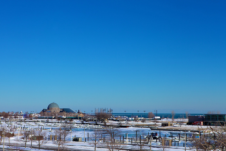 Chicago's Adler Planetarium enjoys the late winter view over a chilly Lake Michigan January, 2014. Photo by Jeff Carrion