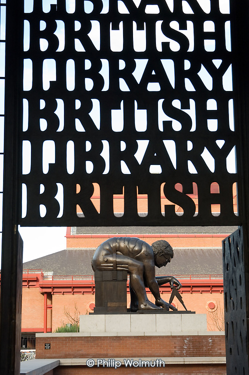 The bronze sculpture 'Newton, after William Blake', by Eduardo Paolozzi, in the forecourt of the British Library in Euston, central London.
