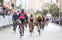 BOYACA - COLOMBIA: 07-09-2016. Juan Sebastian Molano ganador de la primera etapa de la 38 versión de la vuelta Ciclista a Boyaca 2016 que se corre entre  Nobsa y Sogamoso. La prueba se corre entre el  7 y el 11 septiembre de 2016./ Juan Sebastian Molano winner of the first stage of the Vuelta a Boyaca 2016 that took place between villages of Nobsa and Sogamoso. The race is held between 7 and 11 of September of 2016 . Photo:  VizzorImage/ José Miguel Palencia / Liga Ciclismo de Boyaca