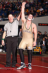 02/26/11--Milwaukie's Nick Garren celebrates his win over Marshfield's Jake Browning in the 215 lb. weight division of the 5A wrestling state championship at the Memorial Coliseum..Photo by Jaime Valdez.......................................