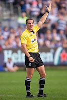 Referee Andrew Brace<br /> <br /> Photographer Bob Bradford/CameraSport<br /> <br /> European Rugby Champions Cup - Bath Rugby v Toulouse - Saturday 13th October 2018 - The Recreation Ground - Bath<br /> <br /> World Copyright © 2018 CameraSport. All rights reserved. 43 Linden Ave. Countesthorpe. Leicester. England. LE8 5PG - Tel: +44 (0) 116 277 4147 - admin@camerasport.com - www.camerasport.com