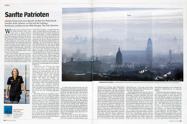 German weekly magazine DER SPIEGEL on Lithuanian literature, panorama of Vilnius, 03.2017.<br /> Picture: Saulius Ziura