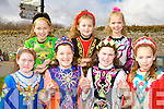 ..Dancers from the Irwin School of dancing who performed at the Killarney St Patricks Day parade on Sunday front row l-r: Grainne Toner, Sarah Sheehan, Shannon Toner Leticia Whelan-Thomas, . Back row: Jodie Sheehan, Meaghan Graham and Clara McCarthy..