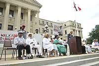 """Civil Rights icon James Meredith, 83, walks from the Smith Robertson museum in downtown Jackson MS. to the State Capitol to commemorate the 50th Anniversary of his historic Walk Against Fear in 1966. Meredith was shot on the second day of his walk in 1966 in Hernando MS and Dr. Martin Luther King and other major civil rights leaders of the time continued Meredith's March from Memphis to Jackson which ended at he State Capitol on June 26, 1966 with 15,000 marchers, the largest civil rights march ever in Mississippi.  The Smith Robertson Museum has an exhibit all about Meredith's March called """"Am I or Am I Not  A Citizen."""" Photo©Suzi Altman"""