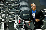 """A Runner disguised as Barack Obama take part during the """"Run up to the Election"""" at New York Sport Club Gym in New York, United States. 08/10/2012. The second 2012 Presidential debate at Hofstra University will take place on Thursday night. Photo by Kena Betancur / VIEWpress."""