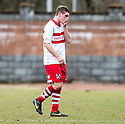 A dejected Stirling Captain Ross Forsyth at the end of the game as he sees his team slide closer to relegation.
